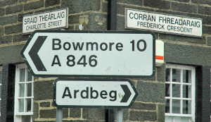 Picture of two road signs towards Bowmore and Ardbeg