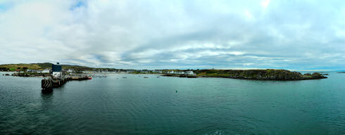 Picture of a panoramic view over a harbour village on two bays