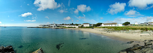Picture of a panoramic view over a coastal village (Port Charlotte on the Isle of Islay)