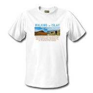 Picture of a white t-shirt with a 'Walking on Islay' design on the front