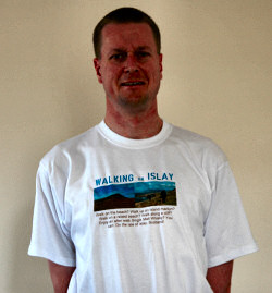 Picture of Armin wearing a 'Walking on Islay' t-shirt