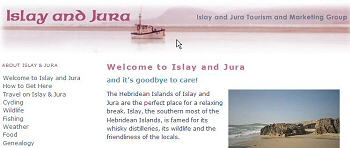 Screenshot of a part of the Islay and Jura Tourism and Marketing Group Website