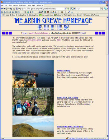 Screenshot of a website with a travelogue