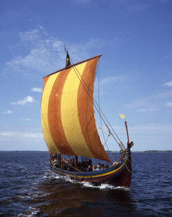 Picture of a viking ship under sail