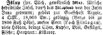 Screenshot of an entry about Islay in an old German encyclopedia