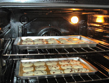 Picture of shortbread in the oven