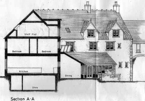 Scan of the sketch of a hotel, showing a section drawing