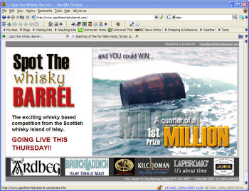 Screenshot of the Spot the Whisky Barrel website
