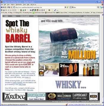 Screenshot of the Spot the Barrel Homepage