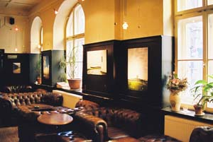 Picture of large leather sofas in a bar