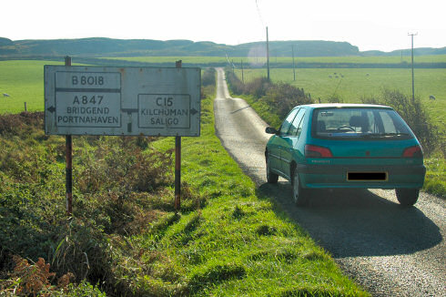 Picture of a C-road sign with a green Peugeot 306 standing next to it
