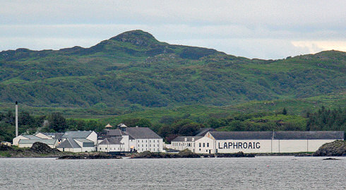 Picture of Laphroaig distillery seen from the sea