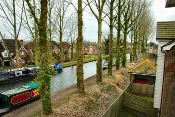 Picture of a view over a canal with canal boats