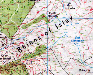 Scan of a map with the incorrect spelling Rhinns of Islay