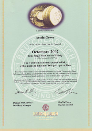 Low resolution scan of an Octomore certificate