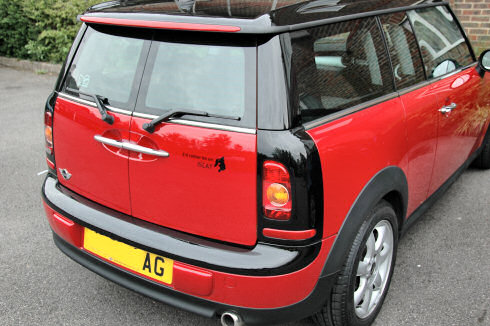 Picture of a Mini Clubman from the back, Islay sticker just visible