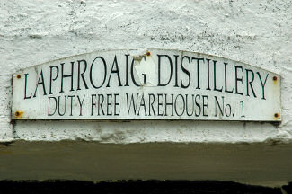 Picture of a sign stating 'Laphroaig Distillery Duty Free Warehouse No. 1