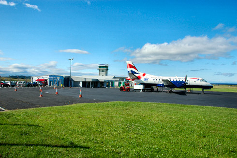 Picture of a small modern passenger jet at Islay Airport