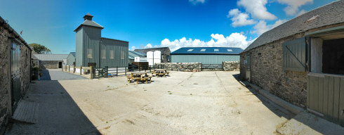 Picture of a panorama of a farm distillery (Kilchoman distillery on Islay)