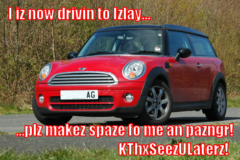 Picture of a red Mini Clubman with a Lolcat style comment