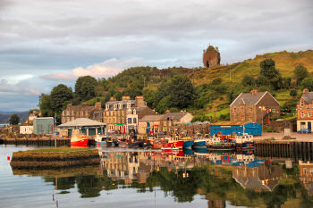 Picture of a small harbour village in the evening light