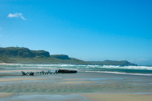 Picture of a view over Machir Bay with Kilchoman Beach on the Isle of Islay on a beautiful sunny day