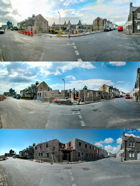 Composite picture with 3 panoramas of a building site showing building progress