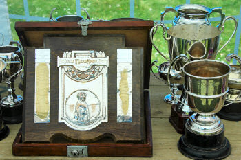 Picture of a collection of trophies for a sheepdog trial event