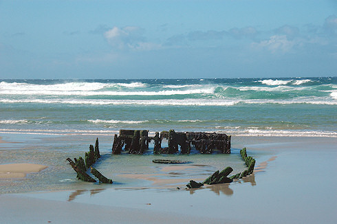 Picture of the remains of a wreck on Kilchoman Beach on Islay in July 2008