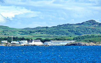 Picture of the Laphroaig distillery on Islay as seen from the ferry
