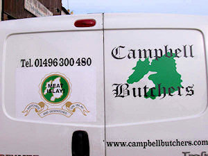 Picture of the back of a van of Campbell Butchers, Port Ellen, Islay