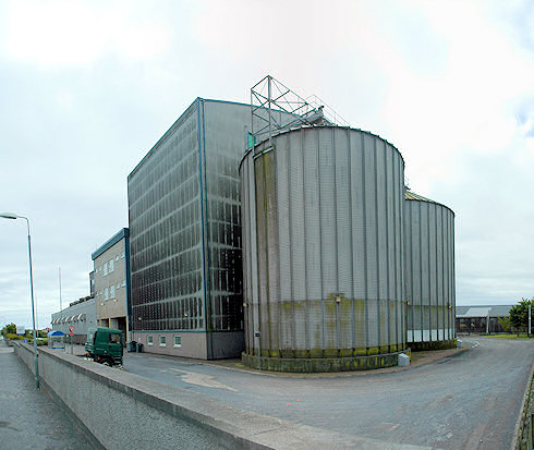 Picture of a large industrial maltings facility in Port Ellen on the Isle of Islay