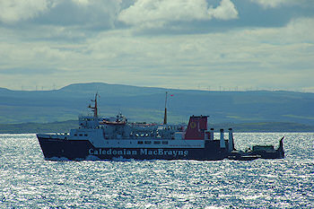 Picture of the Hebridean Isles (one of the Islay ferries) against a bright sea