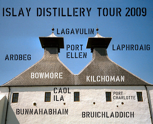 Picture of distillery kilns with the names of the Islay distilleries listed around them