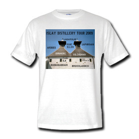 Picture of a t-shirt with an Islay Distillery 2009 print on the front
