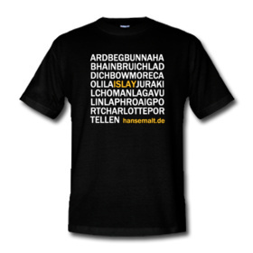Picture of a black t-shirt with the names of many distilleries