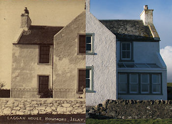 Composite picture of a house using an old and a new version of the same view