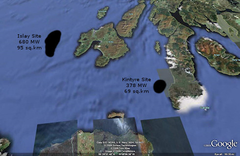 Screenshot of a Google Earth map with the potential windfarm locations drawn in