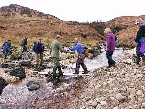 Picture of a few walkers crossing a burn