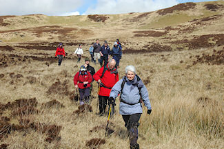 Picture of a group of walkers descending into a glen