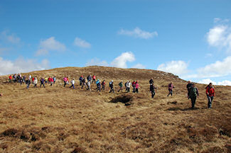 Picture of a group of walkers in the hills