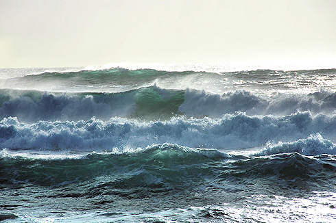 Picture of waves breaking as the approach a shore