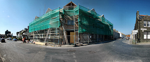 Picture of a panoramic view of an under construction hotel