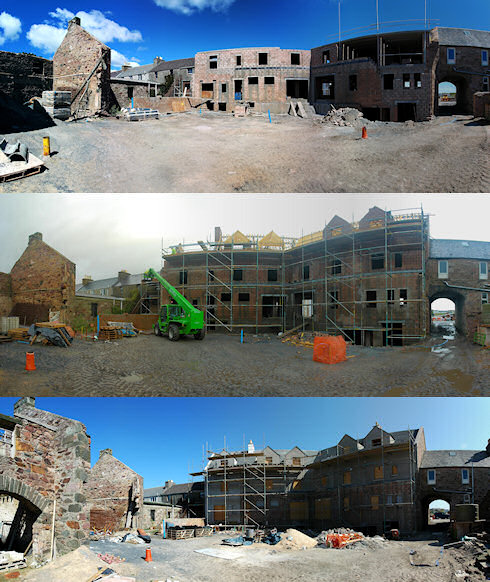 Combined picture of three panoramas of the back of an under construction hotel