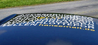 Picture of a roof of a car with a sticker listing all the Islay distilleries