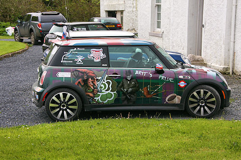 Picture of a richly decorated and painted Mini Cooper