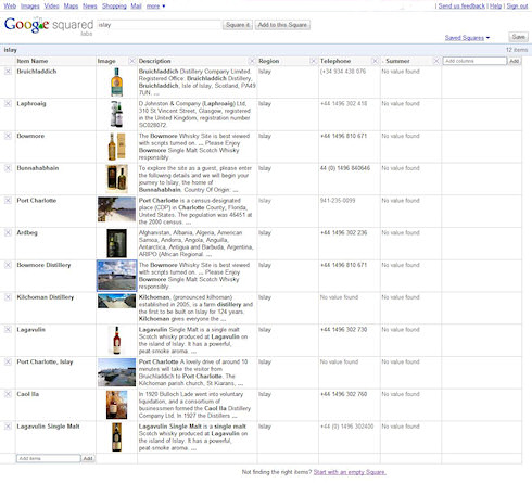 Screenshot of the search results for 'Islay' on Google Squared
