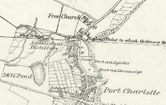 Screenshot of an old map of Port Charlotte on Islay with the Loch Indaal distillery