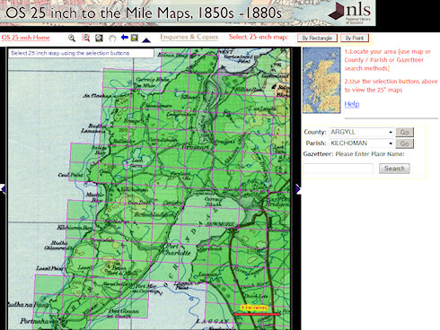 Screenshot of the NLS OS 25 inch to the Mile Maps tool