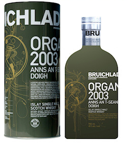 Promotional picture for the Bruichladdich Organic - tin and bottle